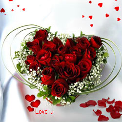 12 Dutch Red Roses in Heart Shape Arrangement