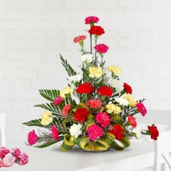 Special Arrangement of 30 Mixed Carnations to Chennai.