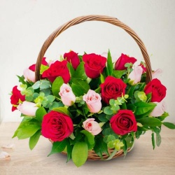 Arrangement of 18 Pink and Red Roses - Specally for the Wonder Women