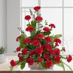Mothers Day Red Carnations Basket to Chennai