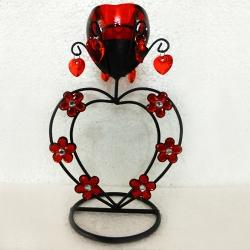 Stunning Heart Shaped Wrought Iron Candle Stand Gift