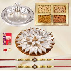 Special Gold Thali with Haldiram Kaju Katli and Dry Fruits with Free Rakhi