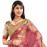 Enticing Pink Net Saree