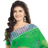 Eye-Catching Net Saree in Printed Green Color