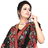 Marvelous Black and Red Printed Chiffon Saree