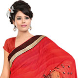 Send Glamorous Fire Orange, Cream and Brown Coloured Georgette Printed Saree to Chennai