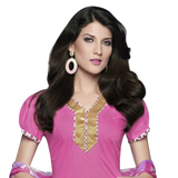 Send Arresting Cotton Printed Salwar Suit in Pink to Chennai