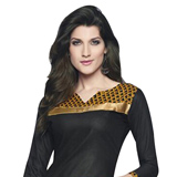 Send Exotic Shaded in Black and Yellow Cotton Printed Patiala Suit to Chennai