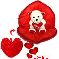 Love Bear in Heart Shaped Pillow (8 inches)