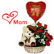 Best Gift for Super Mom with Freshest Roses , Cute Teddy Bear and Balloon