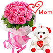 12 Pink Roses Bunch with a small Teddy Bear specially for Mom