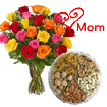 Send 1 Kg. Assorted Dry Fruits with Bouquet of 24 Mixed Colour Roses to Chennai.