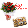 Send 12 Red Roses with 16 Pcs. Ferrero Rocher Box  to Chennai.