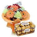 Send Seasonal Flower Bouquet with Ferroro Rocher 16 pcs Box