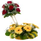 Special Arrangement of 7 Roses and 8 Gerberas Designer to Chennai.