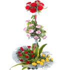 Special Arrangement of3-Tier  Assorted Flowers to Chennai.